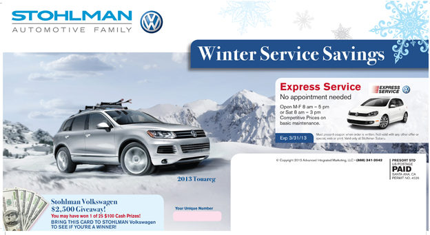 vw automotive mail card